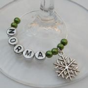 Winter Snowflake Personalised Wine Glass Charm